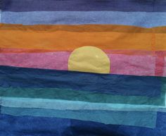 Sunset Over the Ocean Project, Collage with Tissue Paper, 5th Grade