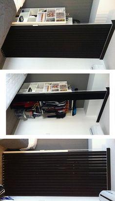 Solução descolada e criativa para criar um armário de guardar roupas com peças que substituem o convencional caixote com laterais, fundo e portas.