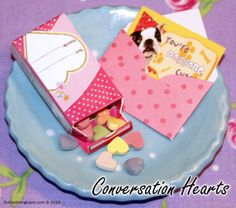 Every dolly needs this traditional Valentine's treat! Set includes approximately 35 tiny hearts in a reclosable box. Valentine's Cards come in several designs and patterns, so it'll be surprise which one you get!