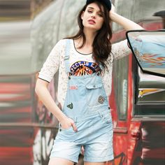 Women Summer New Loose Hole Frayed Denim strap shorts Fashion Girl's Strap Jeans