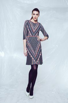 Fit & Flare Print Dress SZ 2715