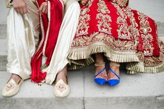 red lehenga with blue shoes amazing combination