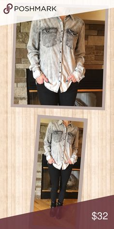 Black & White Destructed Look Denim/Chambray Shirt Super cute, edgy black and white destructed look Denim/Chambray shirt with black snap buttons.  Two chest pockets.  A little longer in the back.  Has a tie dye effect to it.  Really cute and different! Tops Button Down Shirts