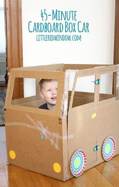 The 45 Minute Cardboard Box Car - Little Red Window Craft Activities For Kids, Preschool Crafts, Diy Crafts For Kids, Nursery Activities, Recycle Crafts, Homemade Kids Toys, Cardboard Car, Camping Crafts, Paper Toys