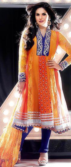 Shaded Orange Net and Viscose Churidar Kameez @ $128.87 | Shop @ http://www.utsavfashion.com/store/sarees-large.aspx?icode=kds165