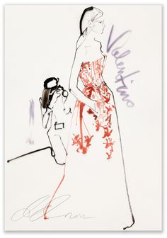 David Downton - Valentino, Paris Couture for Vogue.COM / Fashion Illustration Gallery