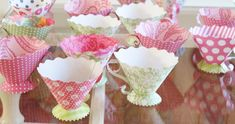 I& making paper teacups using my friend Brenda Walton& Sizzix Die. So much fun! I& just getting the hang of it. Tea Party Crafts, Craft Party, Party Fun, 3d Paper Crafts, Diy Paper, Paper Tea Cups, Use E Abuse, Alice In Wonderland Party, Mad Hatter Tea