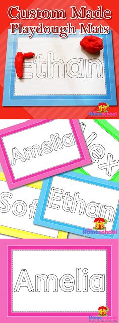 Custom made playdough mats containing children's names in letters that show the correct letter formation. A perfect tool for teachers, homeschoolers and parents who are eager to introduce the younger learner to the correct way their names should be formed. RamonaM Graphics used with special permission from artist LT8485S