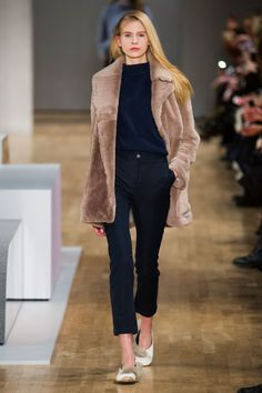 Tibi's Fall 2015 - black cropped pants + a furry teddy coat