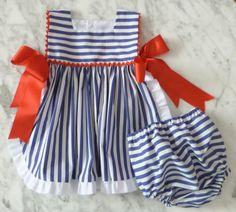 Vestido delantal marinero, con culotte a juego! Ideal para el verano