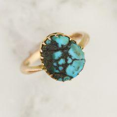 Victorian 1867 9k Rose Gold Matrix Turquoise Ring - Antique