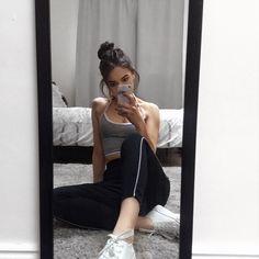 #sport #tracks #comfy-wear #selfie #instagram #monochrome #white-sneakers #cute #fashion #bralette #grey #black #minimalist #aesthetic #casual #smartcasual #iphone