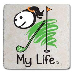 My Life Golf (Female) - Marble Stone Coaster