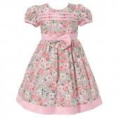 Richie House Baby Girls Pink Floral Print Bow Designer Dress 12-18M - SophiasStyle.com