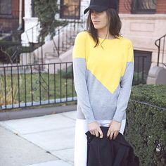"""stitchfix: """"The lovely @nicoleperr of Pumps & Iron pairs her new #stitchfix sweater with white denim and a baseball hat for a casual chic weekend look. #sweaterweather"""""""