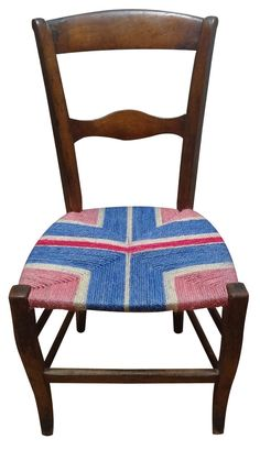 French antique chair with Red white and blue on pink corners design by Rustiquechairs