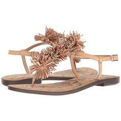 Sam Edelman Gates (Natural Naked Dakota Nappa/Kid Suede Leather)... ($90) ❤ liked on Polyvore featuring shoes, sandals, stacked heel sandals, sam edelman shoes, sam edelman sandals, ankle wrap sandals and fringe sandals