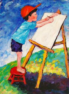 boy drawing at easel, colorful painting by Peggy Johnson prints at http://fineartamerica.com/featured/the-beginning-peggy-johnson.html