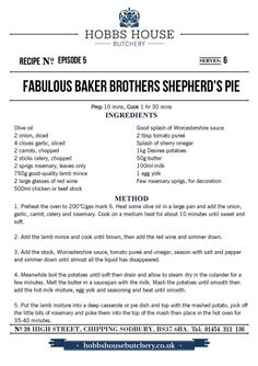 The Fabulous Baker Brothers: Shepherd's Pie - Hobbs House Bakery - Episode 5 Grilling Recipes, Beef Recipes, Cooking Recipes, Irish Recipes, Italian Recipes, Minced Meat Dishes, Savoury Tarts, Mince Meat, Savoury Baking