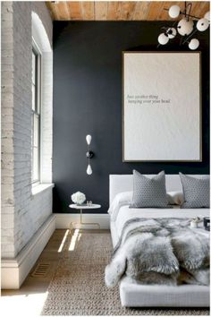 one dark gray wall, same colors. wood is floor // Romantic bedroom ideas for couples 34