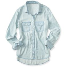 Aeropostale Long Sleeve Core Chambray Woven Shirt ($27) ❤ liked on Polyvore featuring tops, shirts, camisas, chambray, woven top, long sleeve shirts, women tops, long sleeve button shirt and shirts & tops
