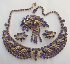 Vintage Hobe Massive Amethyst Layered Rhinestones Necklace Brooch Earrings Set | eBay