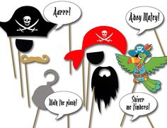 diy pirate decoration | ... photo booth props- printable diy Pirate birthday party decorations