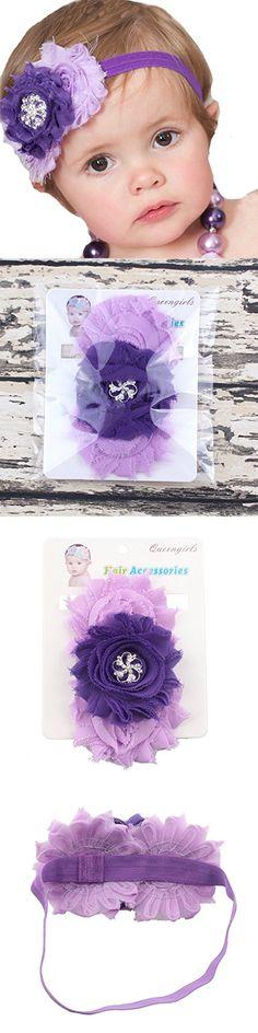 "Miugle Baby Girl's Elastic Headbands with Shabby Chic Flowers,Purple,14"" Girth"