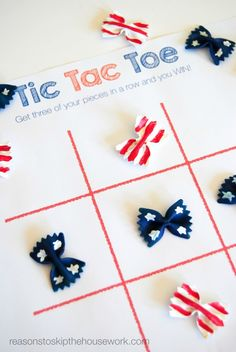 Patriotic Tic Tac Toe game made with BowTie Pasta.  Free game board and bag topper printables too!