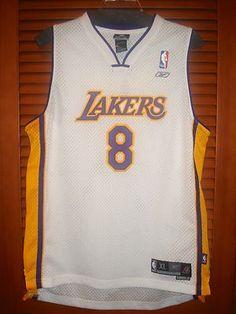 REEBOK LAKERS Los Angeles Kobe Bryant #8 Jersey NBA XL Extra Large White Stitch