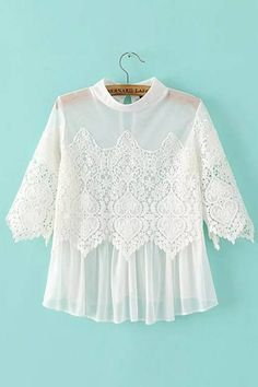 White Lace Insert Mesh Top - US$13.95 -YOINS