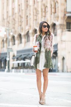 blogmixes: Summer Again :: Feather vest & Lace dress  www.wen...