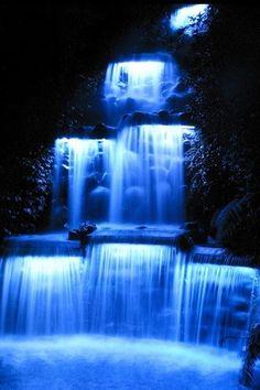 Blue light waterfall