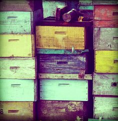 beekeeping... I love the rustic look to these supers! Wonder if I could paint mine to look like this...
