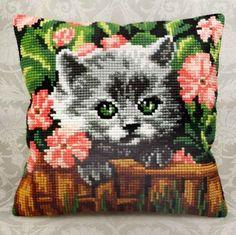 """Cross Stitch Kit   MINOU 16"""" x 16"""" Pillow Cover"""