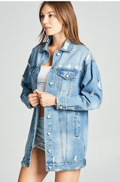 Throw this distressed denim jacket over a hoodie in the winter or wear it over a bodysuit or tank top during the hotter months. This is a must-have wardrobe essential year-round! Denim Bomber Jacket, Oversized Denim Jacket, Denim Jackets, Natural Clothing, Pastel Fashion, Denim Shirt Dress, Wholesale Clothing, Clothes For Women, Casual
