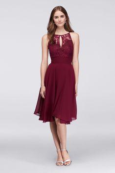 New Coming Ankle Length Keyhole Neck Chiffon Bridesmaid Dress Style DBBAU462
