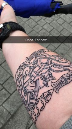 """starbuckviper: """" Getting a new tattoo :D Still have the other half on my arm to get done but here it is so far: -2x snake bands - kinda like Ouroboros (the snake eating its own tail.) -Dragon Probably..."""