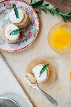 Mini Champagne Cakes with Fresh Whipped Cream and Stevia Leaves