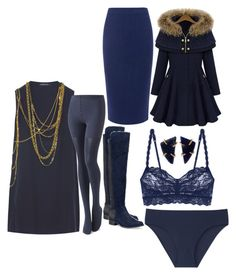 """""""Charmed By Navy"""" by michelle858 ❤ liked on Polyvore featuring Balmain, Calvin Klein, Uniqlo, Cosabella, C/MEO COLLECTIVE and Melissa Joy Manning"""