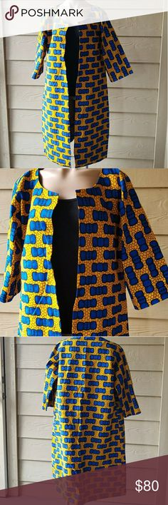 "Trendy African Ankara Print Jacket Size Large. Beautiful stunning hand made trendy fashionably  3/4 sleeves 100% cotton wax Ankara jacket. Perfect with Pants/jeans/dress/skirt.   Measurements - Length-41"" Hips-45"" Sleeves-16""  Bust-42"" Waist-43""  Add my closet to your favorite for new arrivals. I add new items to my closet every week.  ❌No trading. ❌ No lowballing ✔Offers through offer button only.  Reasonable offers please  hand made Jackets & Coats"