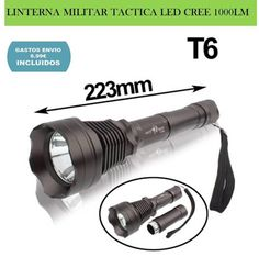 Iluminacion deportes: linterna LED CREE T6 1000LM militar uso tactico profesional para caza, pesca, camping, senderismo y aventura