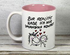 """Sprüche Tasse Einhorn Spruch """"sporadisch Kontakt"""" von My_SweetHeart auf DaWanda.com"""