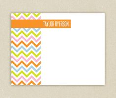 Personalized Flat Notecard Printable Colorful Chevron by elsiej
