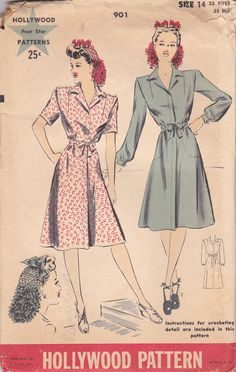 1940s Simple Day Dress Pattern Hollywood 901 by OneMoreCupOfTea