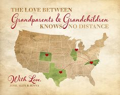 Grandparent Gift, The Love Between Grandparents and Grandchildren Knows No Distance, Long Distance Map, Rustic Brown, Christmas Gift | WF512