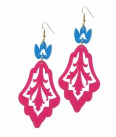 Baronyka Long Blue And Pink Leaf Earrings (Acrylic Laser Cut Earrings)  These unique floral statement earrings are made from pink and blue acrylic, they hang on gold plated over brass nickel and lead free earwires and measure 3.54 inches (90 mm).  These earrings make a bold statement, yet are surprisingly lightweight and easy to wear.  All of my jewelry comes with a gift box.  $36.9