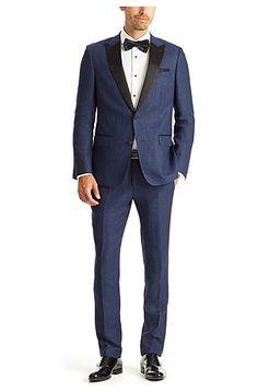 'Hanford/Golden' | Slim Fit, Linen Tuxedo with Silk Trim, Blue