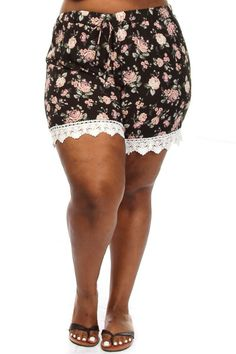 These cute plus size shorts feature a floral print body, mid rise and crochet trimmed bottom. Soft, stretch material 75% Cotton 23% Polyester 2% Spandex Model wearing 3X Made in USA