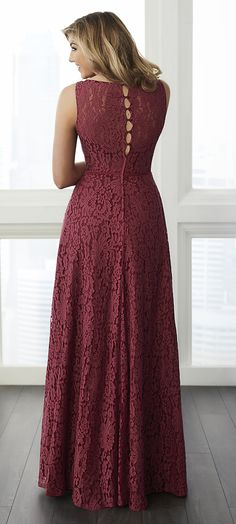 This lace gown features a draped lace bodice with a button up back and a true wrap skirt. The waist is finished with a thin satin #Bridesmaids After5formalwear  Www.afterfiveformals.com